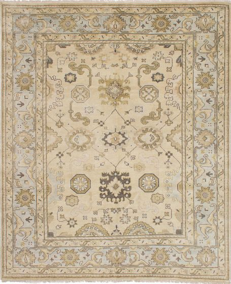 Traditional Yellow Area rug 6x9 Indian Hand-knotted 223631