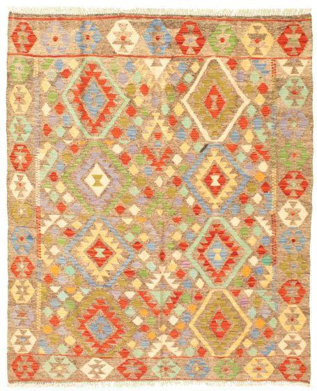 Bordered  Geometric Grey Area rug 4x6 Turkish Flat-weave 330036