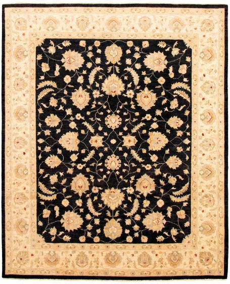 Bordered  Traditional Black Area rug 6x9 Afghan Hand-knotted 330619