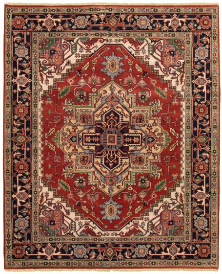 Bordered  Traditional Brown Area rug 6x9 Indian Hand-knotted 331870