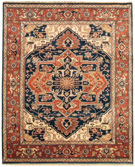Bordered  Traditional Blue Area rug 6x9 Indian Hand-knotted 331874