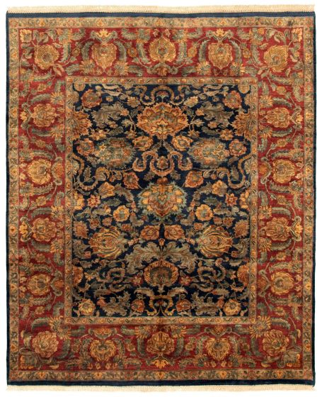 Bordered  Traditional Blue Area rug 6x9 Indian Hand-knotted 335511