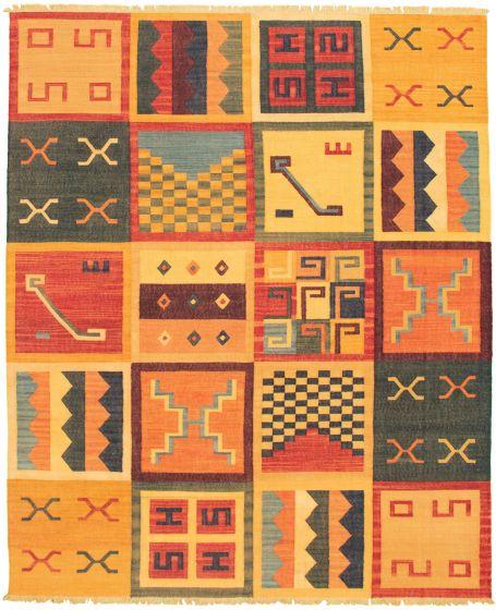 Casual  Transitional Orange Area rug 6x9 Turkish Flat-weave 335980