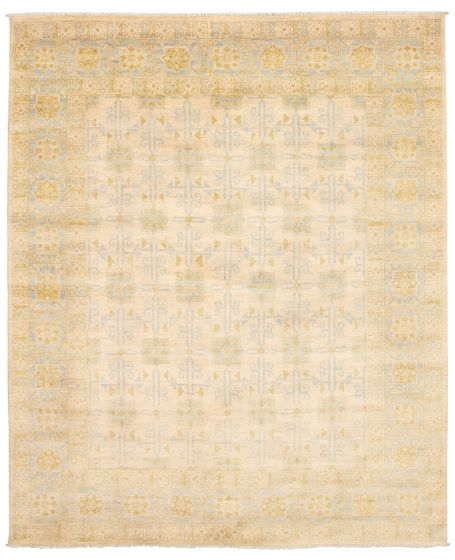 Bordered  Transitional Ivory Area rug 6x9 Pakistani Hand-knotted 338746