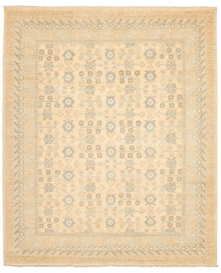 Bordered  Transitional Ivory Area rug 6x9 Pakistani Hand-knotted 338760