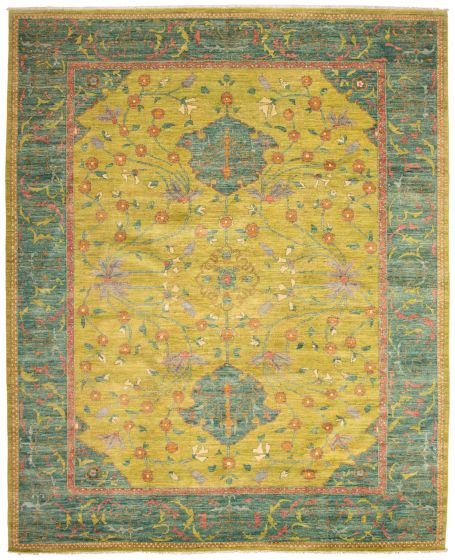Bordered  Traditional Green Area rug 12x15 Pakistani Hand-knotted 339145