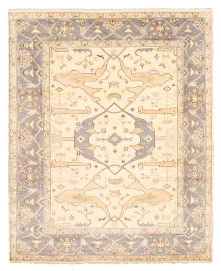 Bordered  Traditional Ivory Area rug 6x9 Indian Hand-knotted 344823