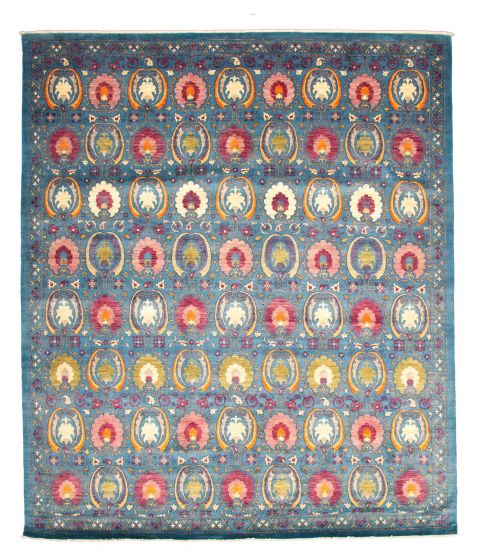Casual  Transitional Blue Area rug 12x15 Pakistani Hand-knotted 345145