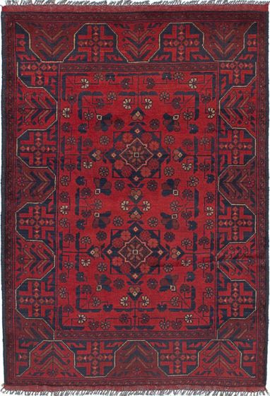 Geometric  Tribal Red Area rug 3x5 Afghan Hand-knotted 238448