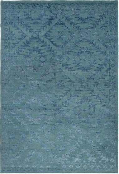 Casual  Contemporary Green Area rug 5x8 Indian Hand-knotted 271768