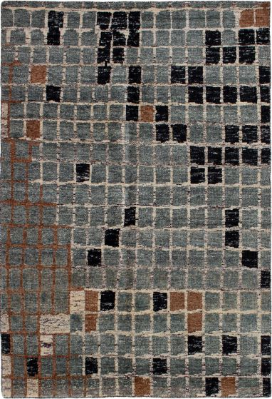 Casual  Contemporary Grey Area rug 5x8 Indian Hand-knotted 271773