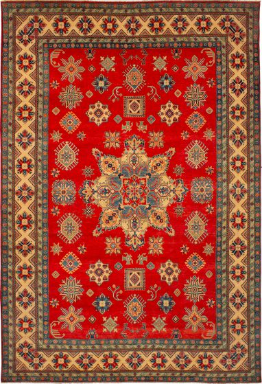 Bordered  Traditional Red Area rug 10x14 Afghan Hand-knotted 272354