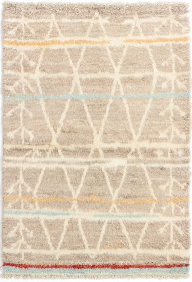 Casual  Moroccan Brown Area rug 3x5 Indian Hand-knotted 280540