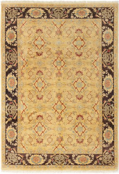 Bordered  Traditional Ivory Area rug 5x8 Afghan Hand-knotted 280552