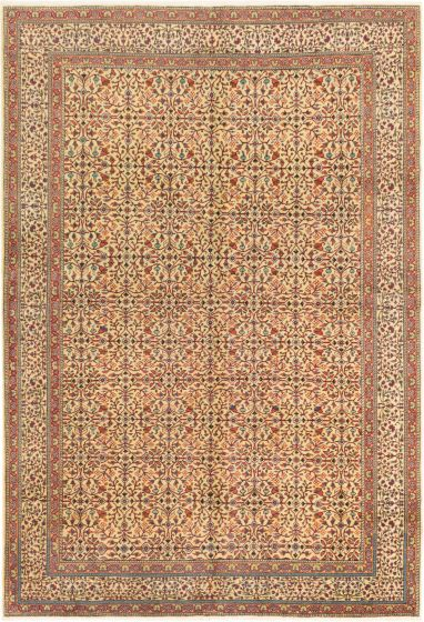 Bordered  Transitional Ivory Area rug 6x9 Turkish Hand-knotted 280917
