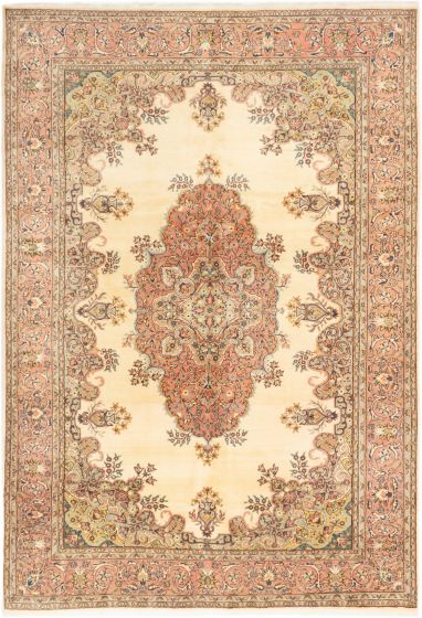 Bordered  Traditional Ivory Area rug 6x9 Turkish Hand-knotted 280954