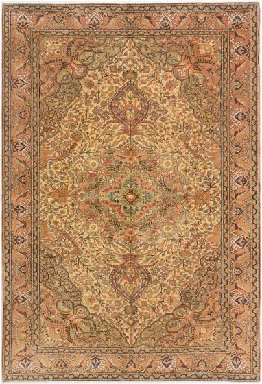 Bordered  Traditional Ivory Area rug 6x9 Turkish Hand-knotted 280972