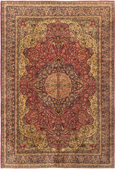 Bordered  Traditional Red Area rug 6x9 Turkish Hand-knotted 280983