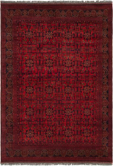 Bordered  Tribal Red Area rug 6x9 Afghan Hand-knotted 305436