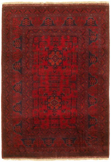 Bordered  Tribal Red Area rug 3x5 Afghan Hand-knotted 329880