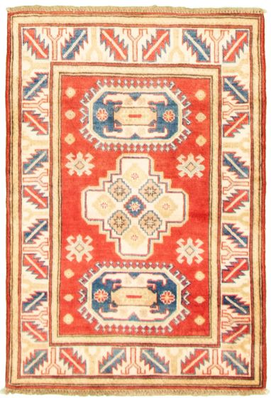 Bordered  Traditional Red Area rug 3x5 Afghan Hand-knotted 330300