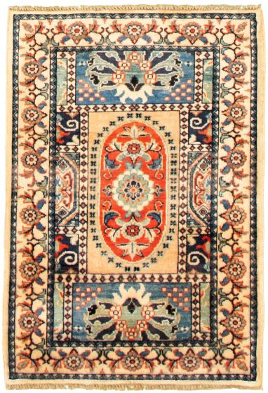 Bordered  Traditional Blue Area rug 3x5 Afghan Hand-knotted 330303