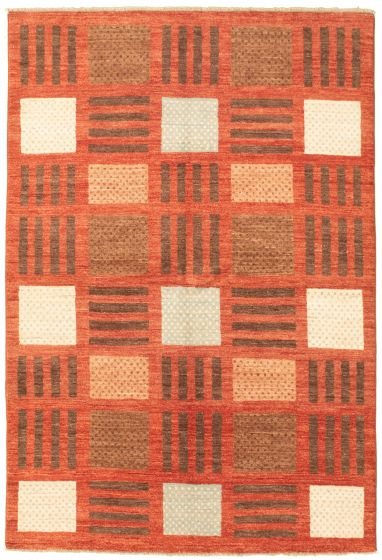 Casual  Transitional Brown Area rug 5x8 Pakistani Hand-knotted 330339