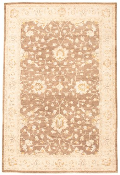 Bordered  Traditional Brown Area rug 6x9 Pakistani Hand-knotted 330456