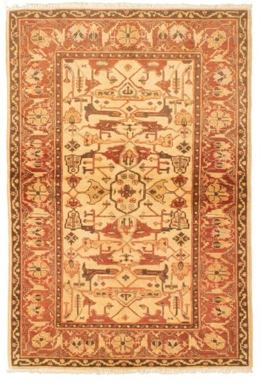 Bordered  Traditional Ivory Area rug 3x5 Afghan Hand-knotted 331233