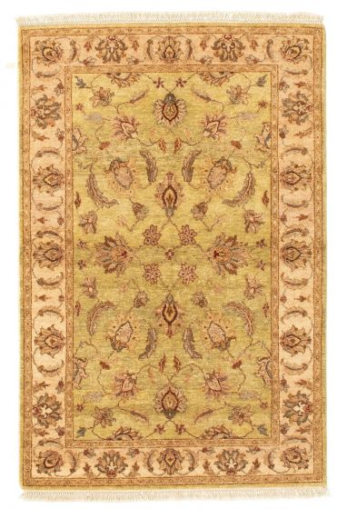 Bordered  Traditional Green Area rug 3x5 Indian Hand-knotted 331296