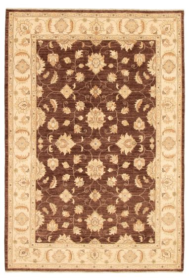 Bordered  Traditional Brown Area rug 5x8 Afghan Hand-knotted 331599