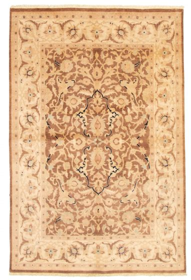 Bordered  Traditional Brown Area rug 5x8 Pakistani Hand-knotted 331609