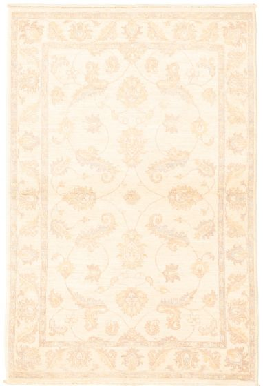 Bordered  Traditional Ivory Area rug 3x5 Afghan Hand-knotted 331611