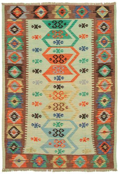 Bohemian  Transitional Blue Area rug 5x8 Turkish Flat-weave 336821