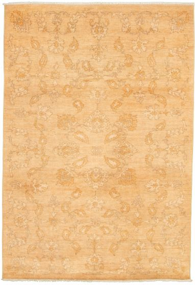 Bordered  Transitional Ivory Area rug 5x8 Pakistani Hand-knotted 339003