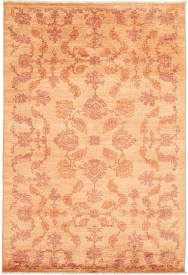 Floral  Transitional Brown Area rug 5x8 Pakistani Hand-knotted 339005