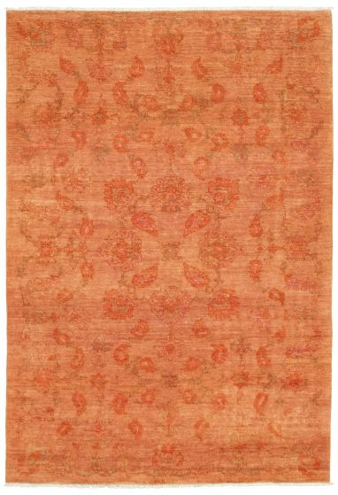 Floral  Transitional Brown Area rug 5x8 Pakistani Hand-knotted 339033