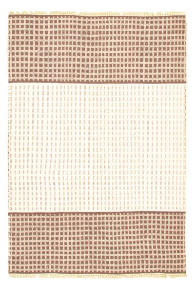 Flat-weaves & Kilims  Transitional Ivory Area rug 3x5 Indian Flat-weave 344511