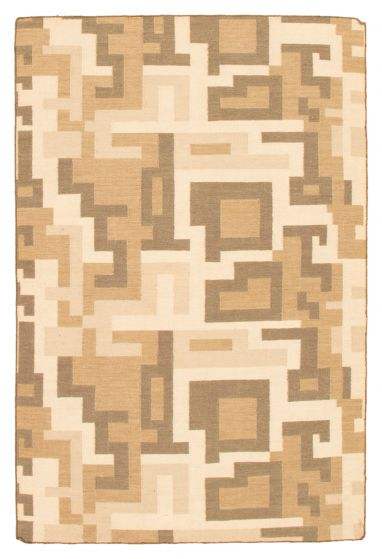 Contemporary  Transitional Yellow Area rug 5x8 Turkish Flat-weave 344552