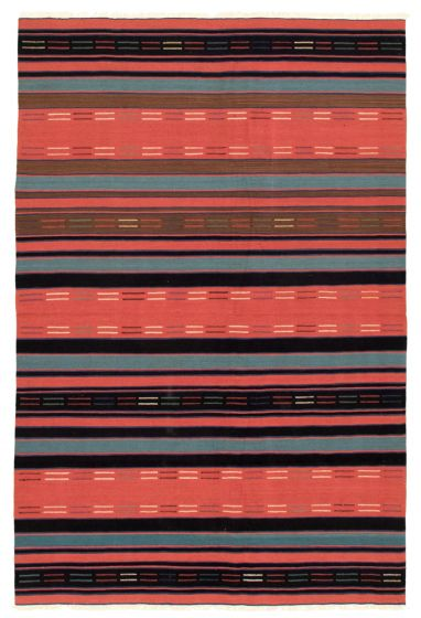Bohemian  Stripes Red Area rug 5x8 Turkish Flat-weave 346176