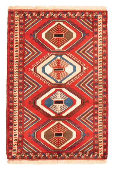 Bordered  Geometric Red Area rug 3x5 Persian Hand-knotted 358661