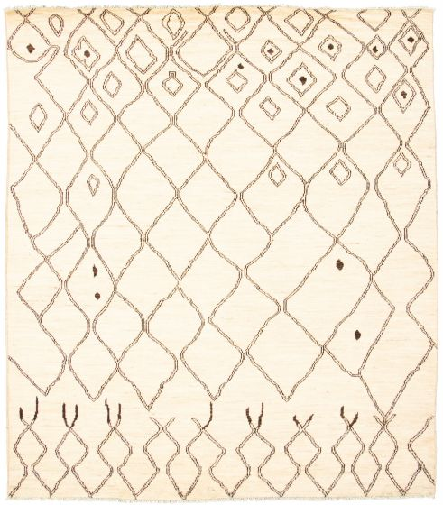 Moroccan  Tribal Ivory Area rug 8x10 Pakistani Hand-knotted 311246