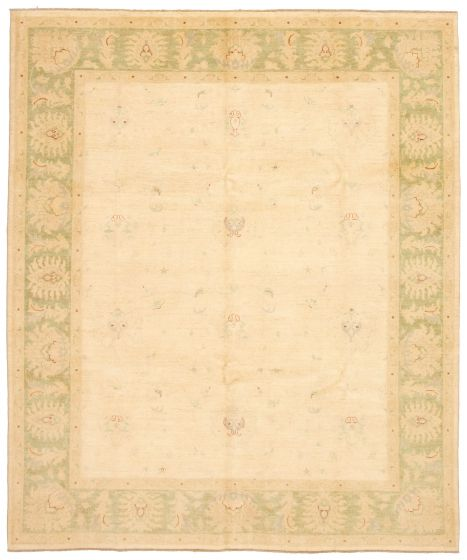 Bordered  Traditional Ivory Area rug 6x9 Pakistani Hand-knotted 330622