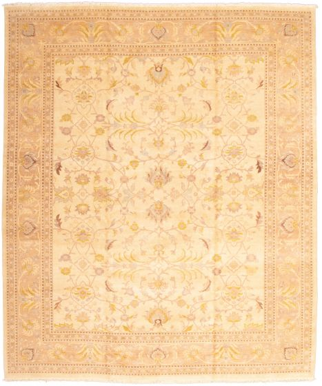 Bordered  Traditional Ivory Area rug 12x15 Pakistani Hand-knotted 339172