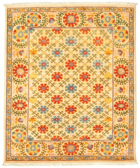 Bordered  Transitional Ivory Area rug 3x5 Pakistani Hand-knotted 342145