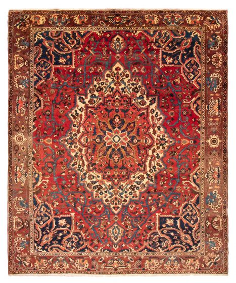 Bordered  Traditional Red Area rug 10x14 Persian Hand-knotted 366579