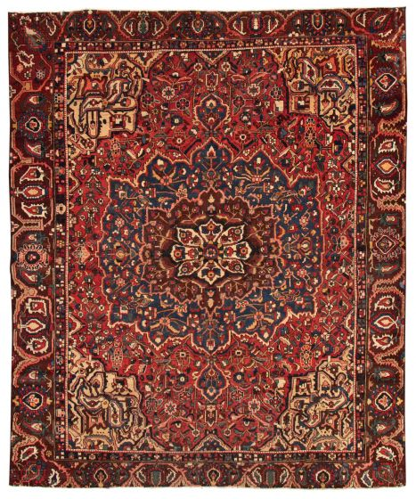 Bordered  Traditional Red Area rug 9x12 Persian Hand-knotted 367076