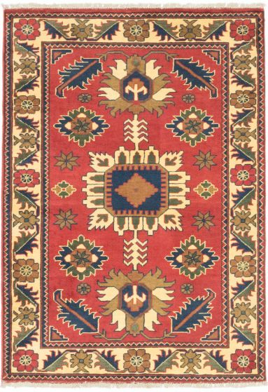 Tribal Red Area rug 3x5 Afghan Hand-knotted 203309