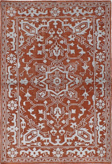 Traditional Orange Area rug 4x6 Indian Hand-knotted 222019