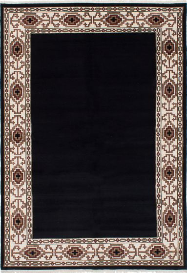 Transitional Black Area rug 5x8 Pakistani Hand-knotted 230711